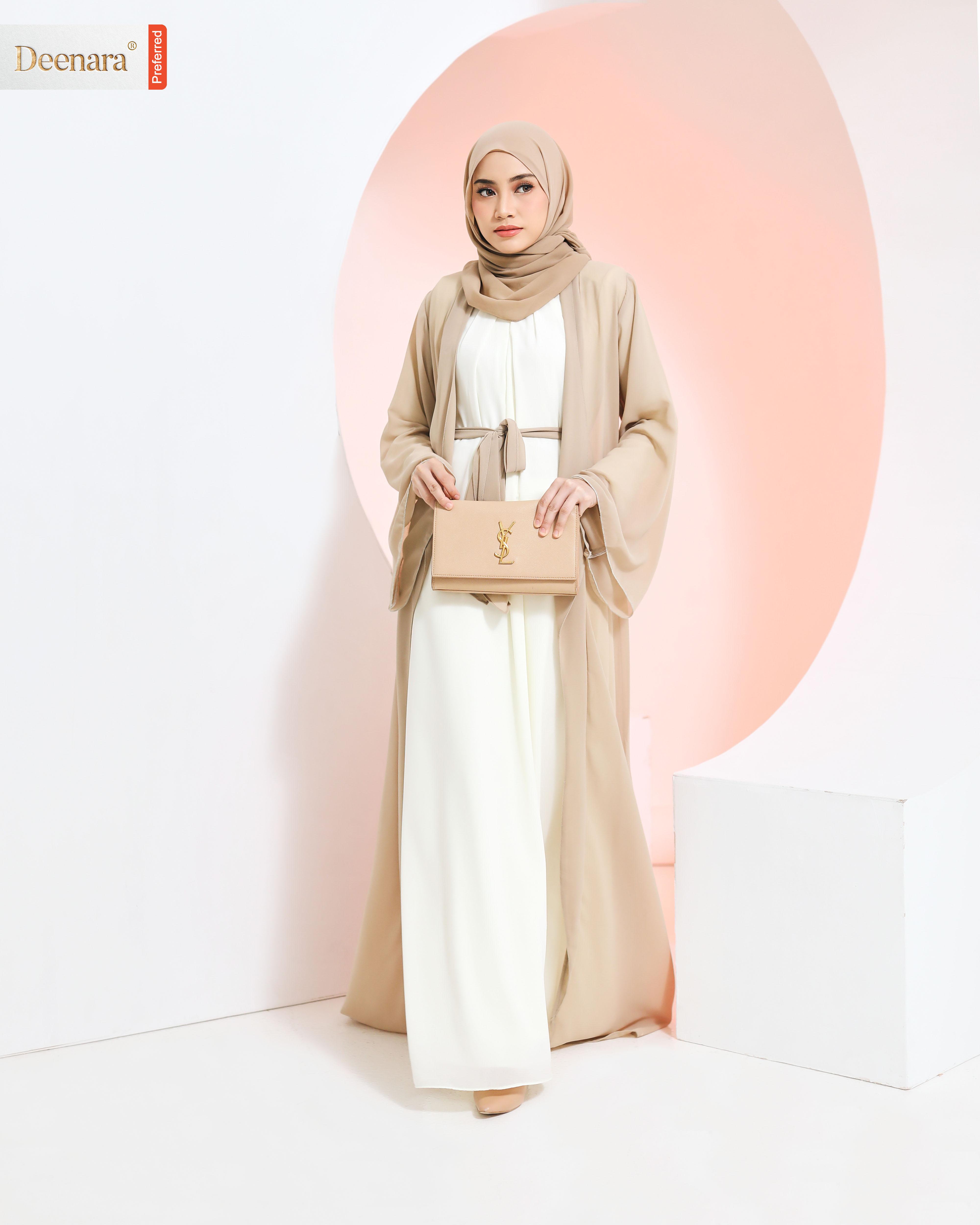Umayra Abaya - Soft Brown / Offwhite