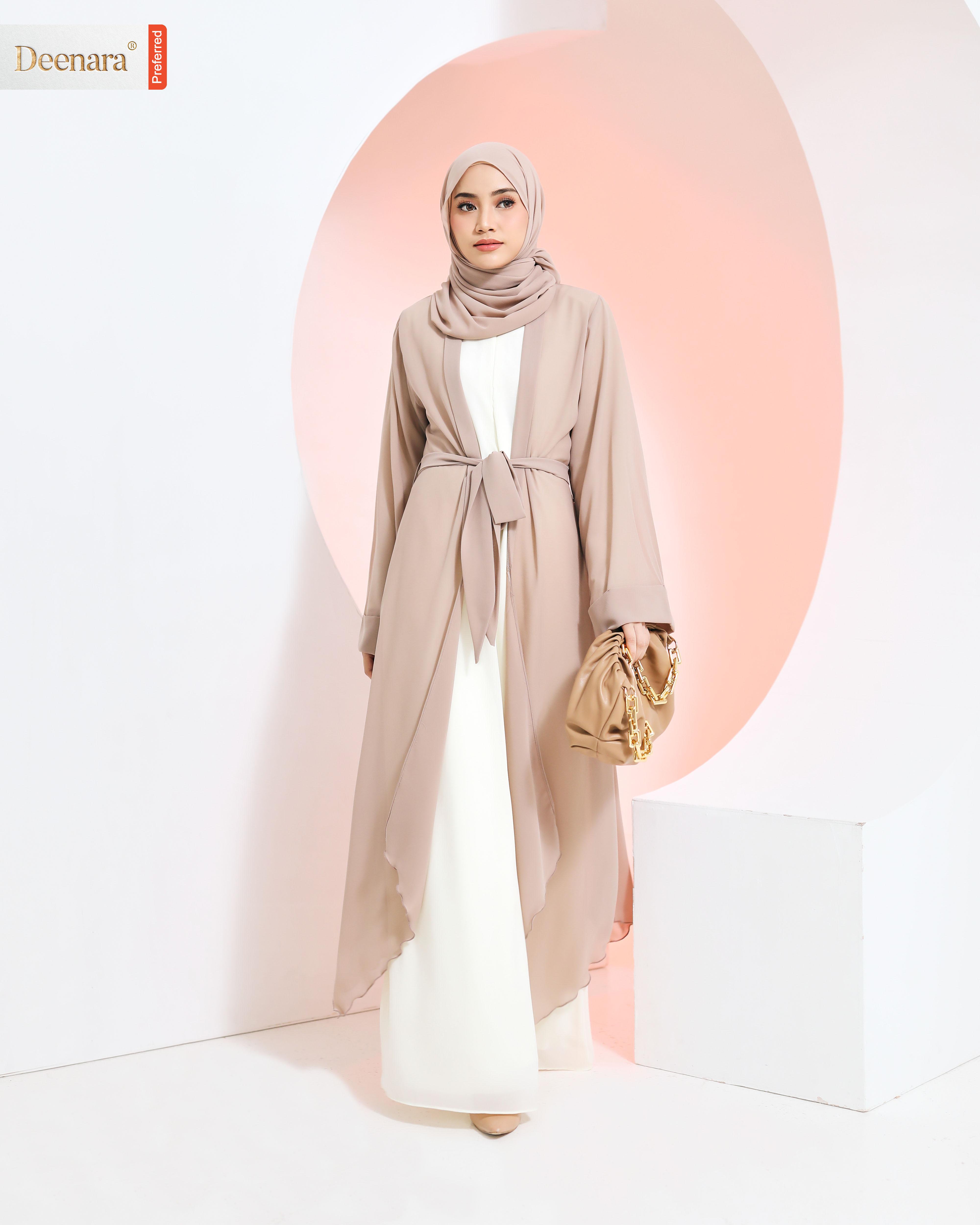 Aafiya Abaya - Soft Brown / Offwhite