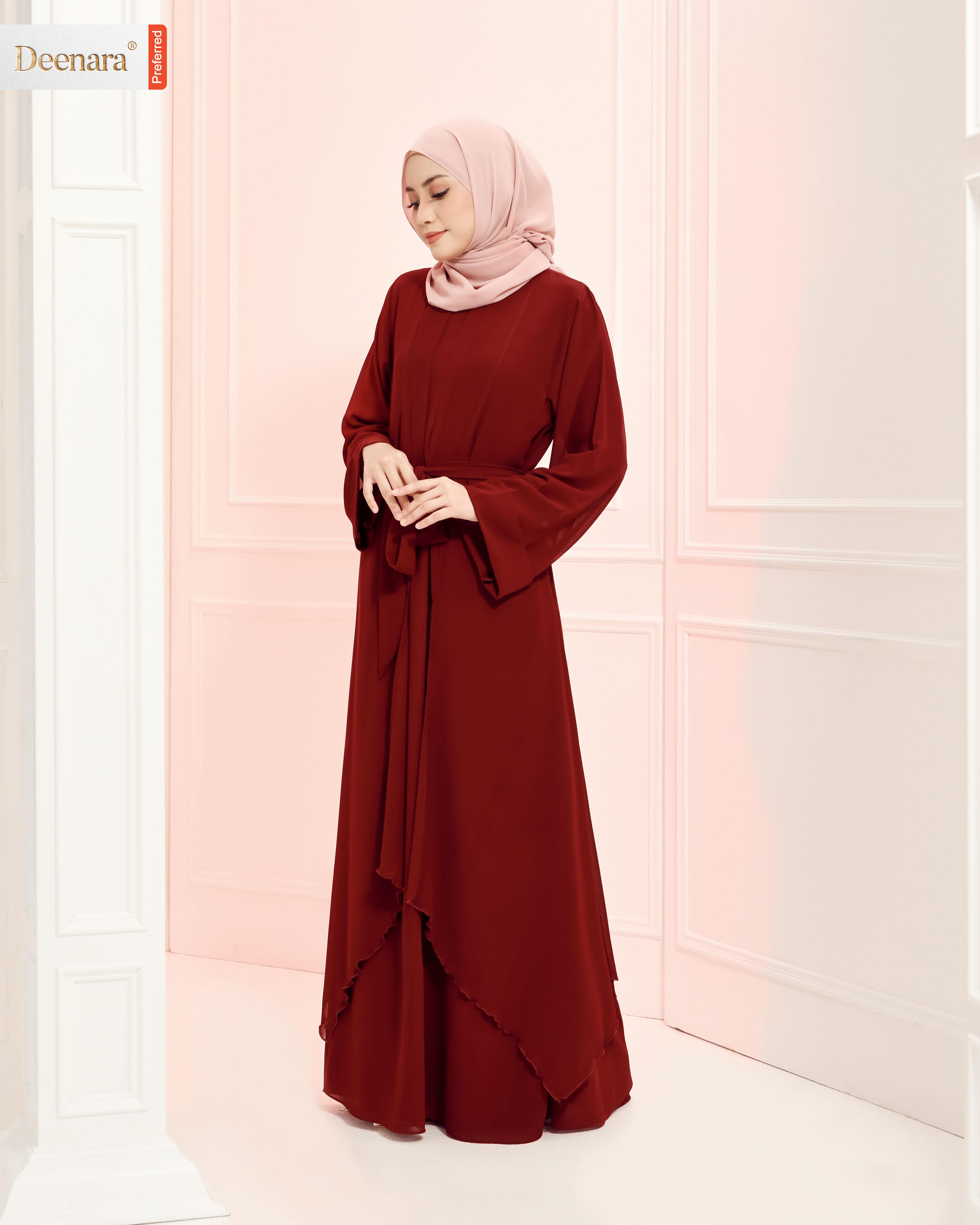 Aafiya Abaya Dress - Deep Maroon