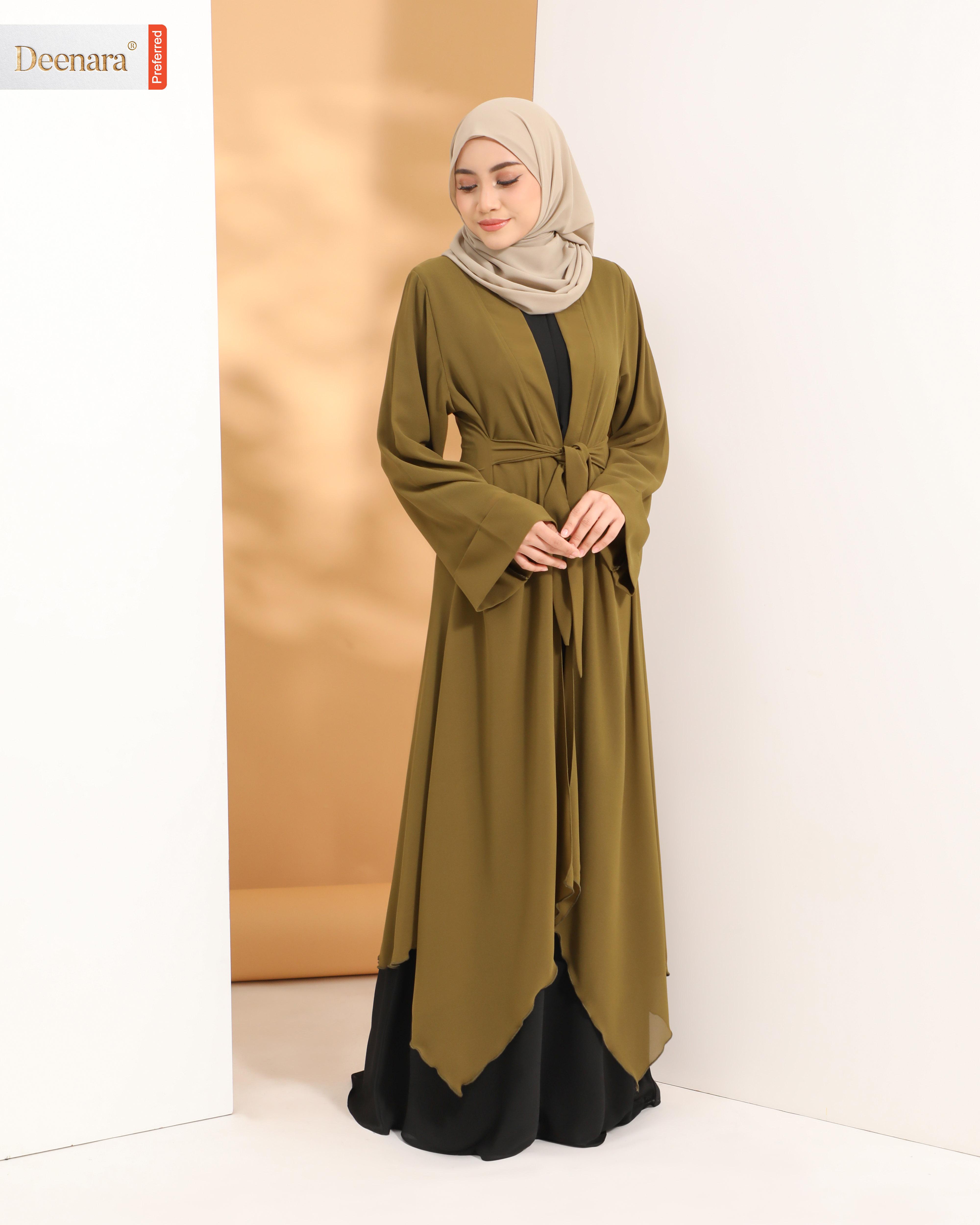 Aafiya Abaya -  Black / Moss Green