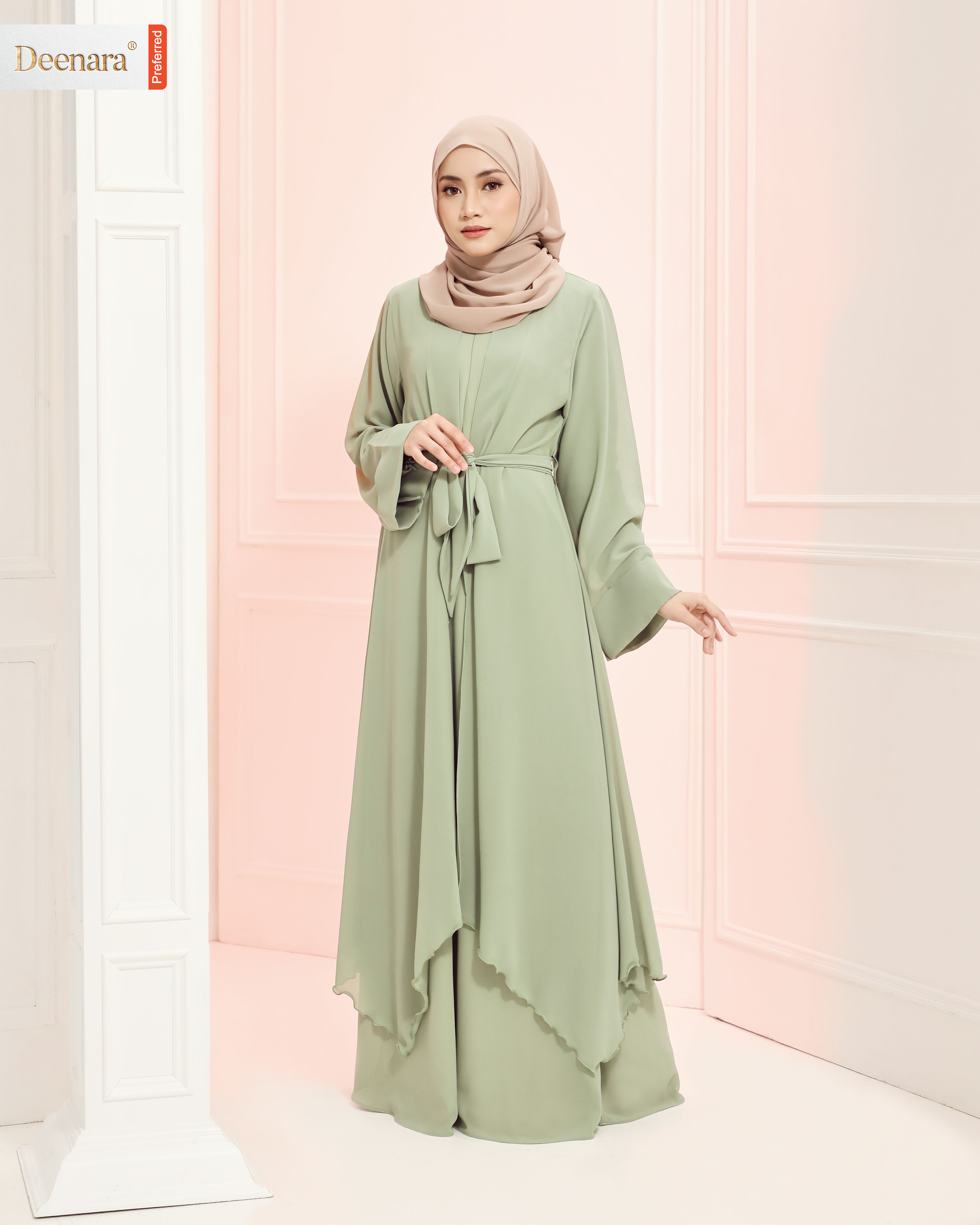 Aafiya Abaya Dress - Light Olive
