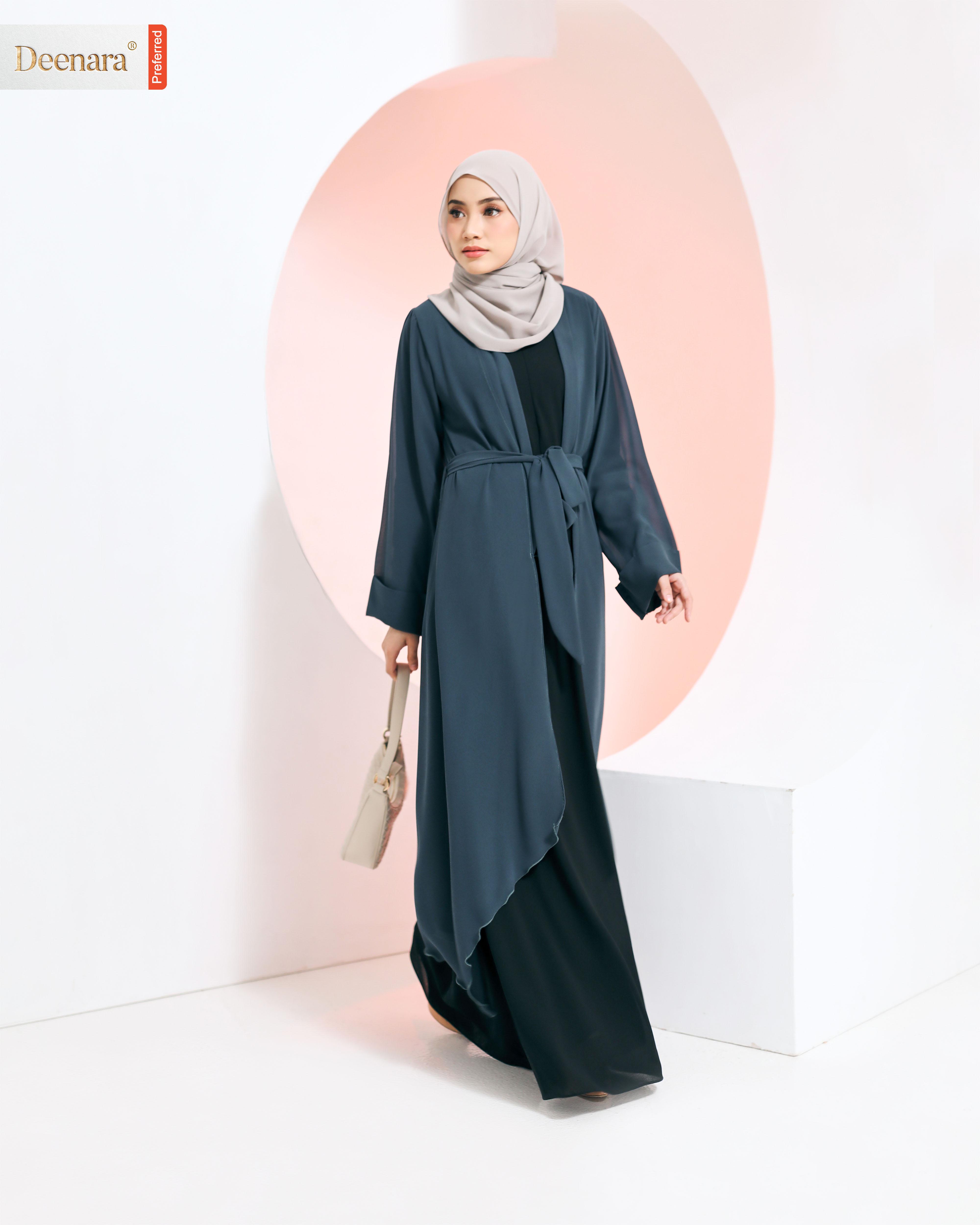 Aafiya Abaya - Spruce Blue / Black