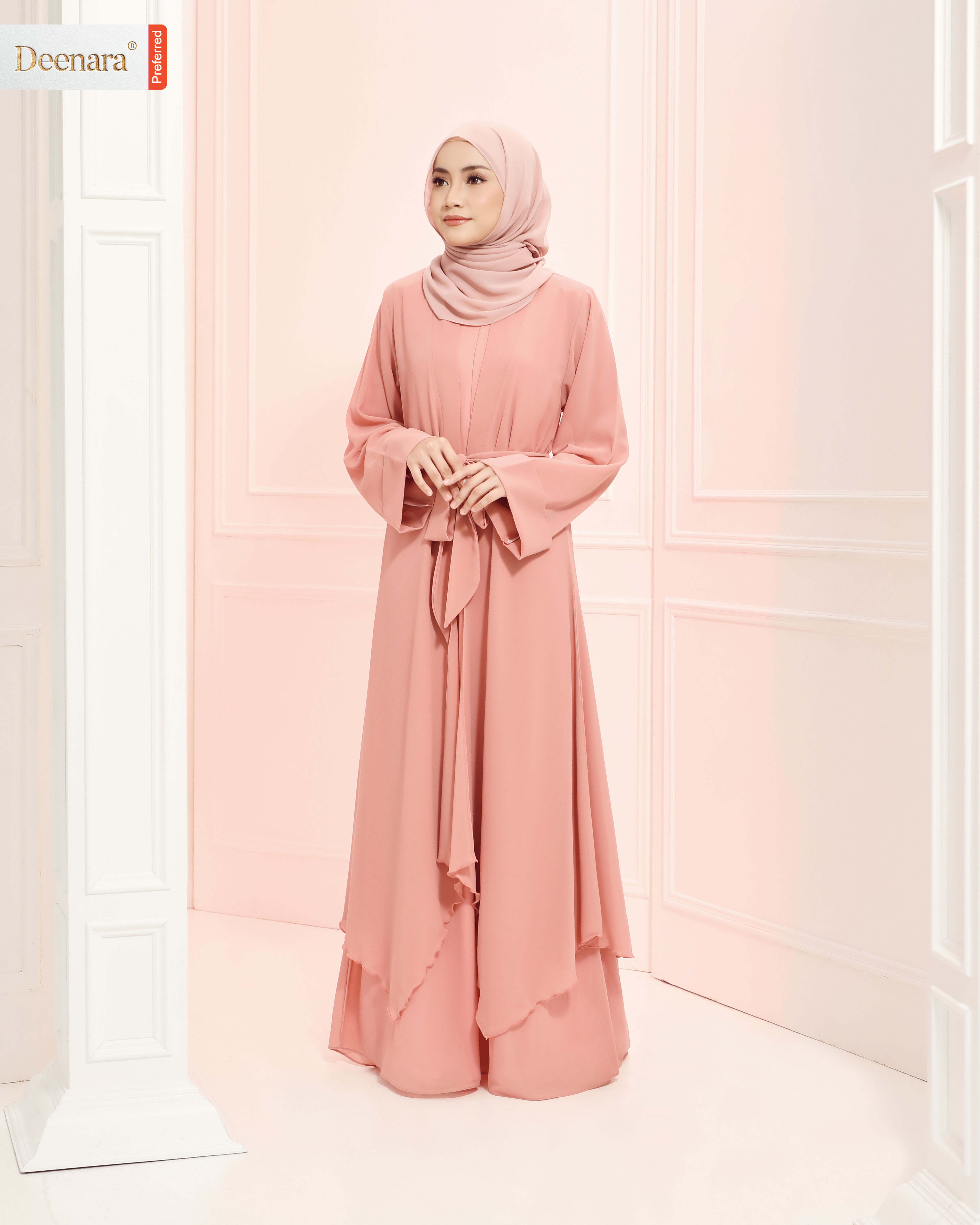 Aafiya Abaya Dress - Peachy Pink