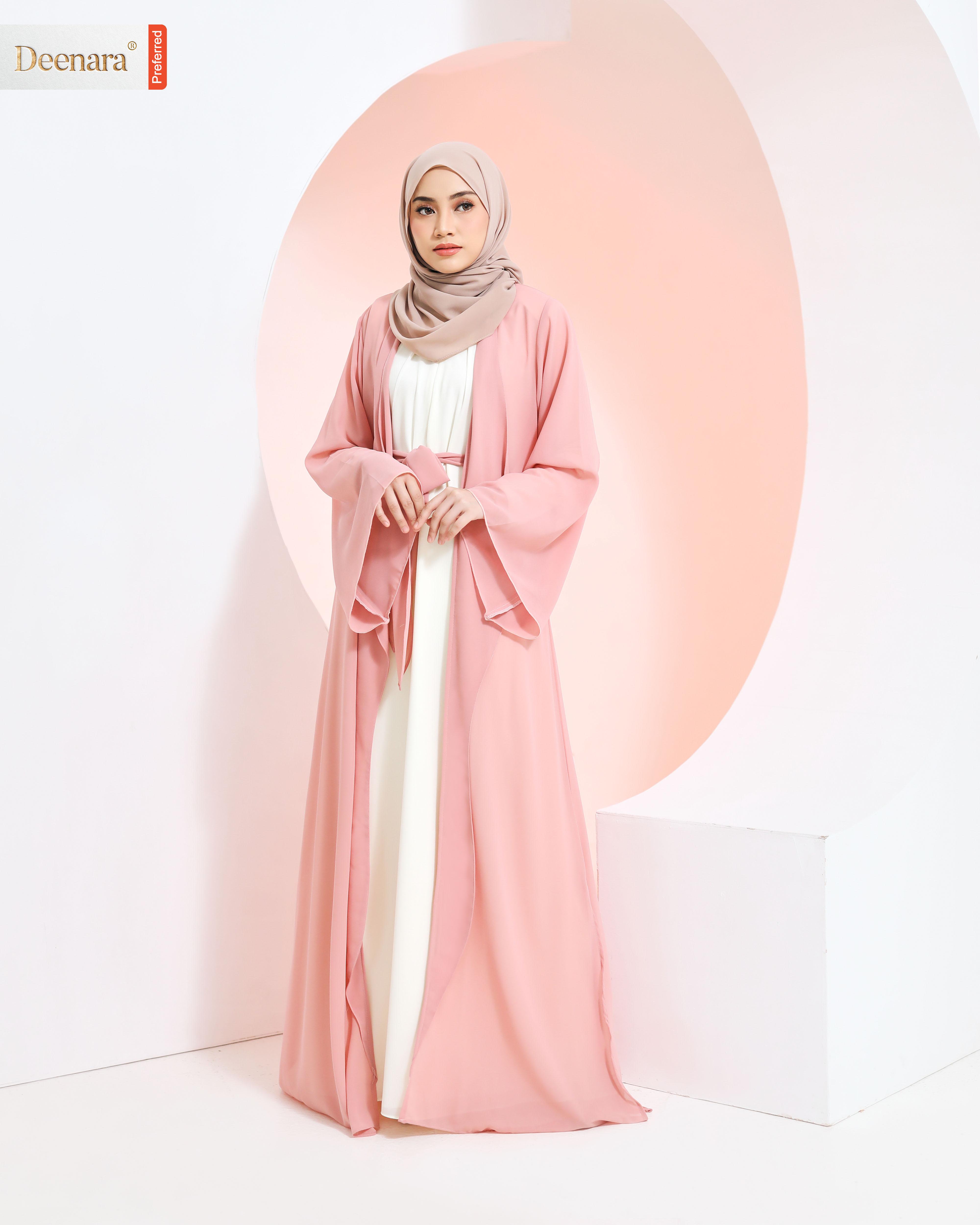 Umayra Abaya - Rose Pink / Offwhite