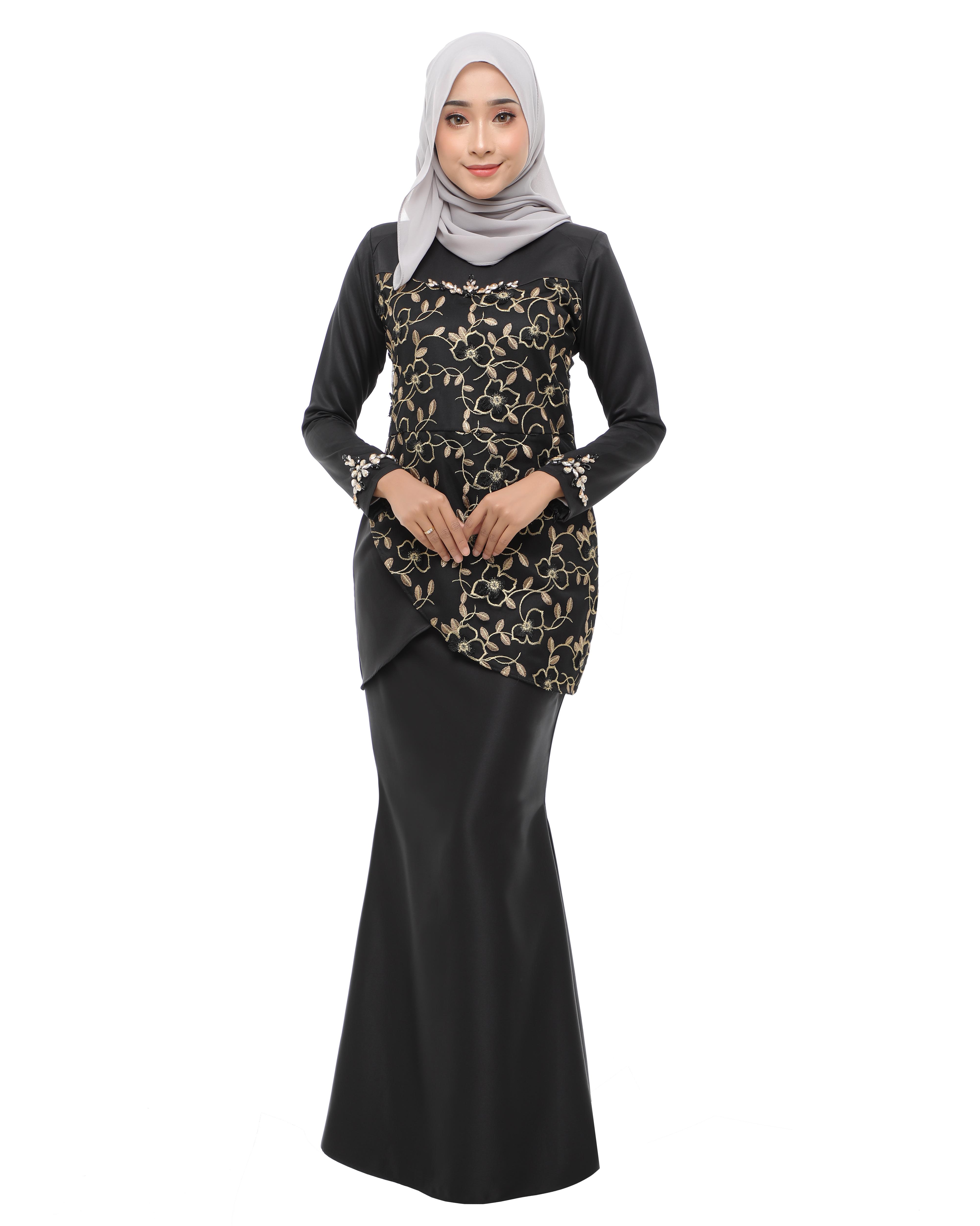 Rosalyn - Black (Gold Flower Lace)