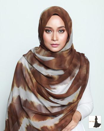 Chiffon Silk Tie Dye Abstract Long Shawl (Rust)
