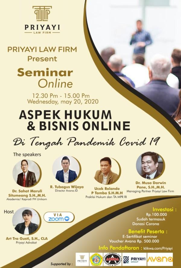 SEMINAR ONLINE - ASPEK HUKUM & BUSINESS ONLINE - TOKOAMAL.ASIA
