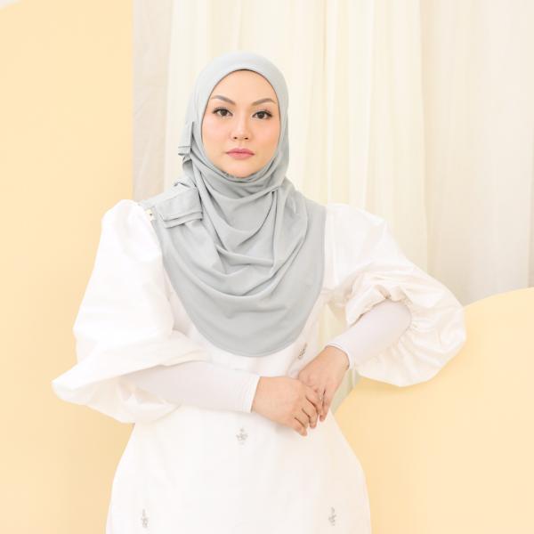 MEKNIS THE LABEL Yeoja Instant Hijab - Silver Grey - MEKNIS
