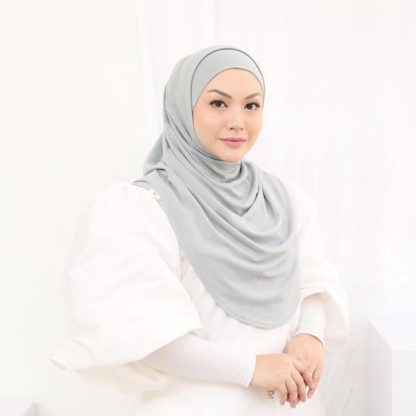 MEKNIS THE LABEL - Sonyeo Instant Hijab - Grey - MEKNIS