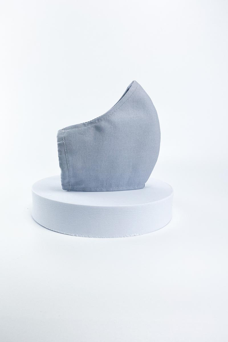 Grey Cotton Face Mask with Pocket Filter