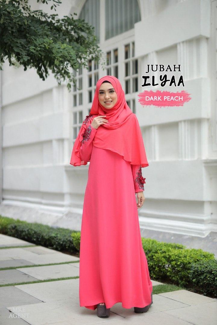 Ilyaa Jubah In Dark Peach