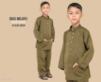 Melayu Kids In Olive Green