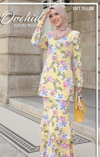 MOFF Kurung Moden Orchid In Soft Yellow