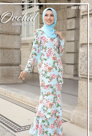 MOFF Kurung Moden Orchid In Baby Blue