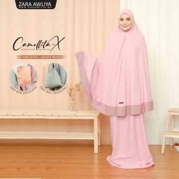 Telekung Camellita-X - Light Rose (Ready Stock)