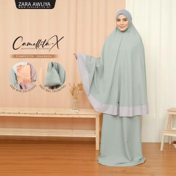 Telekung Camellita-X - Seagreen  (Ready Stock)