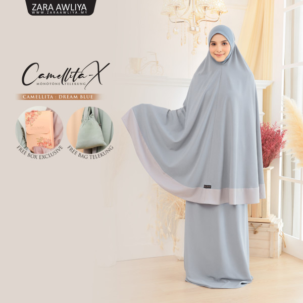 Telekung Camellita-X - Dream Blue  (Ready Stock) - ZARA AWLIYA