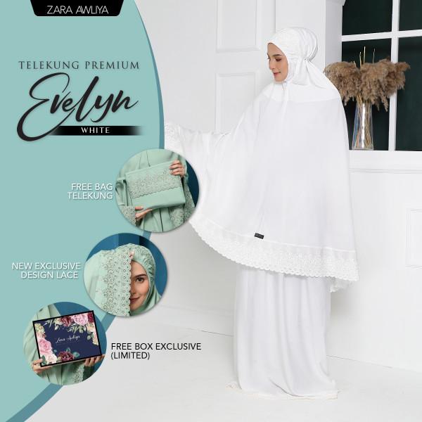 Telekung Premium EVELYN - White - ZARA AWLIYA