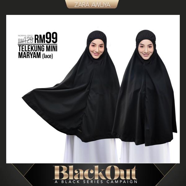 TELEKUNG MINI MARYAM - Lace Black (Berpoket untuk Umrah Haji) - ZARA AWLIYA