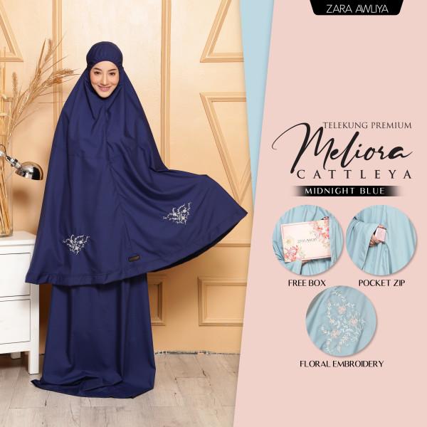 Telekung Premium Meliora Cattleya - Midnight Blue - ZARA AWLIYA