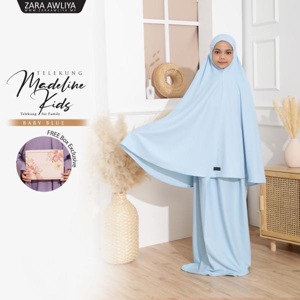 Telekung Madeline Kids - Baby Blue - ZARA AWLIYA