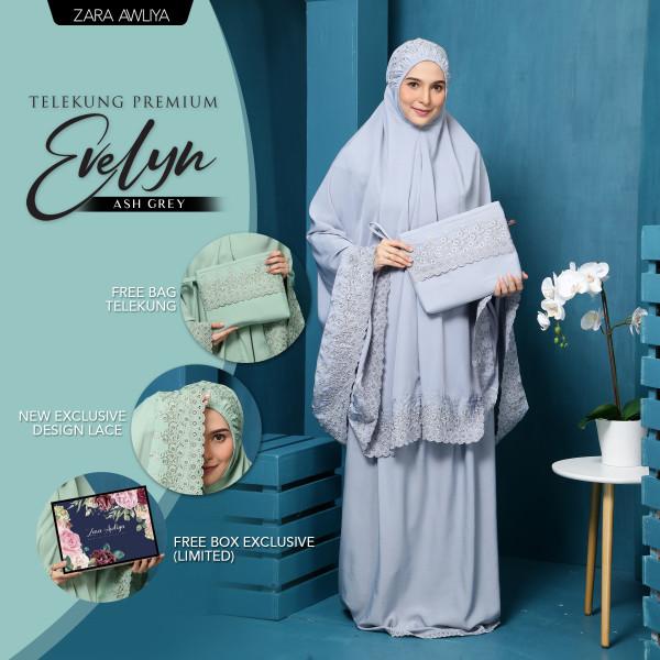 Telekung Premium EVELYN - Ash Grey - ZARA AWLIYA