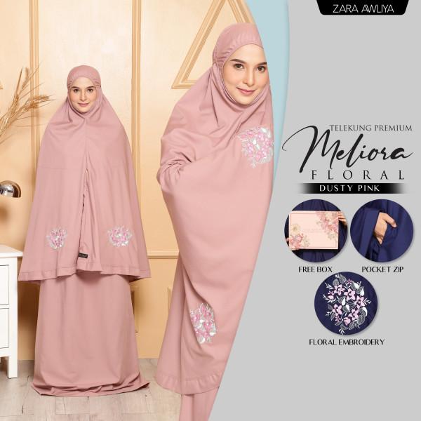 Telekung Meliora Floral (Poket) - Dusty Pink - ZARA AWLIYA