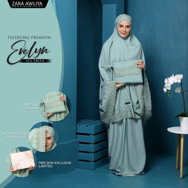 Telekung Premium EVELYN - Sea Green - ZARA AWLIYA