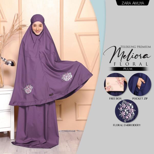 Telekung Meliora Floral (Poket) - Lavender - ZARA AWLIYA
