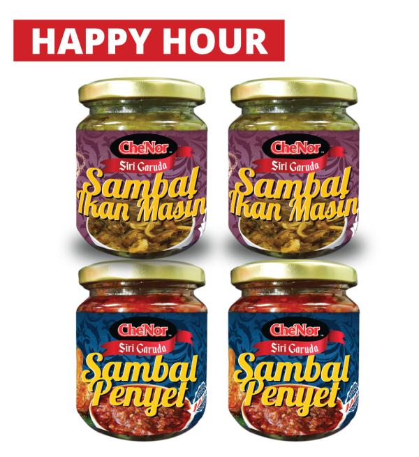 [HAPPY HOUR] 2pcs Sambal Penyet + 2pcs Sambal Ikan Masin - Sambal Garing Che'Nor Official