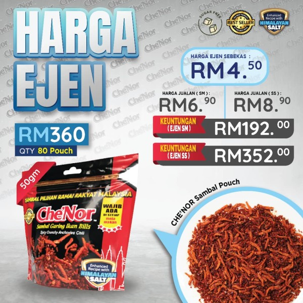 [PAKEJ EJEN] Che'Nor Sambal Pouch - Sambal Garing Che'Nor Official