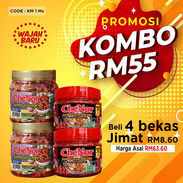 KOMBO KM1 MIX - Sambal Garing Che'Nor Official