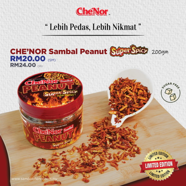 Che'Nor Sambal Peanut Super Spicy - 200gm - Sambal Garing Che'Nor Official