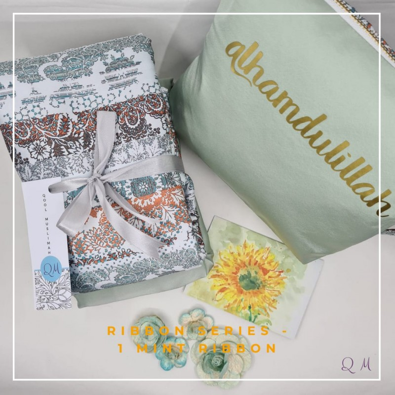Telekung/Mukena Armani Silk Zigzag Series - Mint - Qool Muslimah
