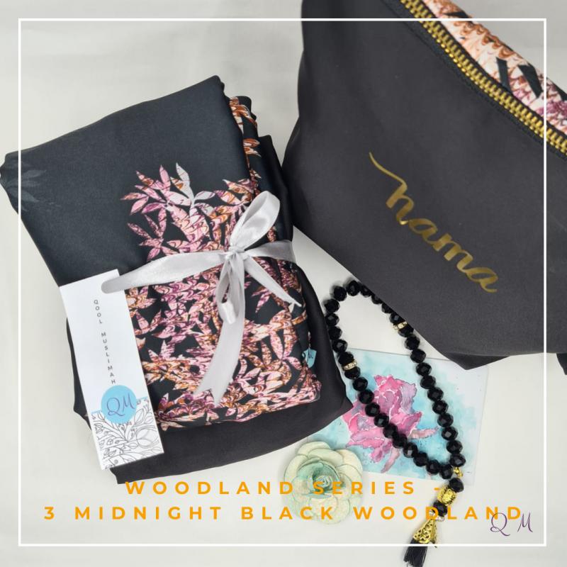 Telekung Armani Silk - Black with Lace - Qool Muslimah
