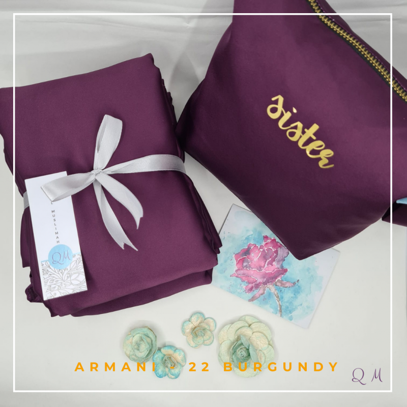 Telekung/Mukena Armani Silk - Burgundy