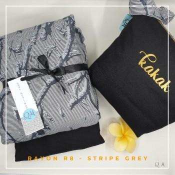 Telekung Rayon - Stripe Grey