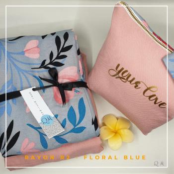 Telekung Rayon - Floral Blue