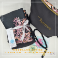 Telekung/Mukena Armani Silk Woodland Series-Midnight Black - Qool Muslimah