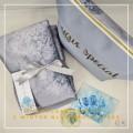 Telekung Silk Snowflakes - Winter Blue - Qool Muslimah