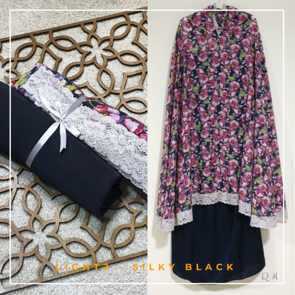 Travel Chiffon - Black Pink - Qool Muslimah