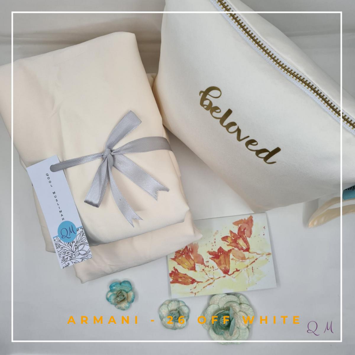 Telekung/Mukena Armani Silk - Off White - Qool Muslimah