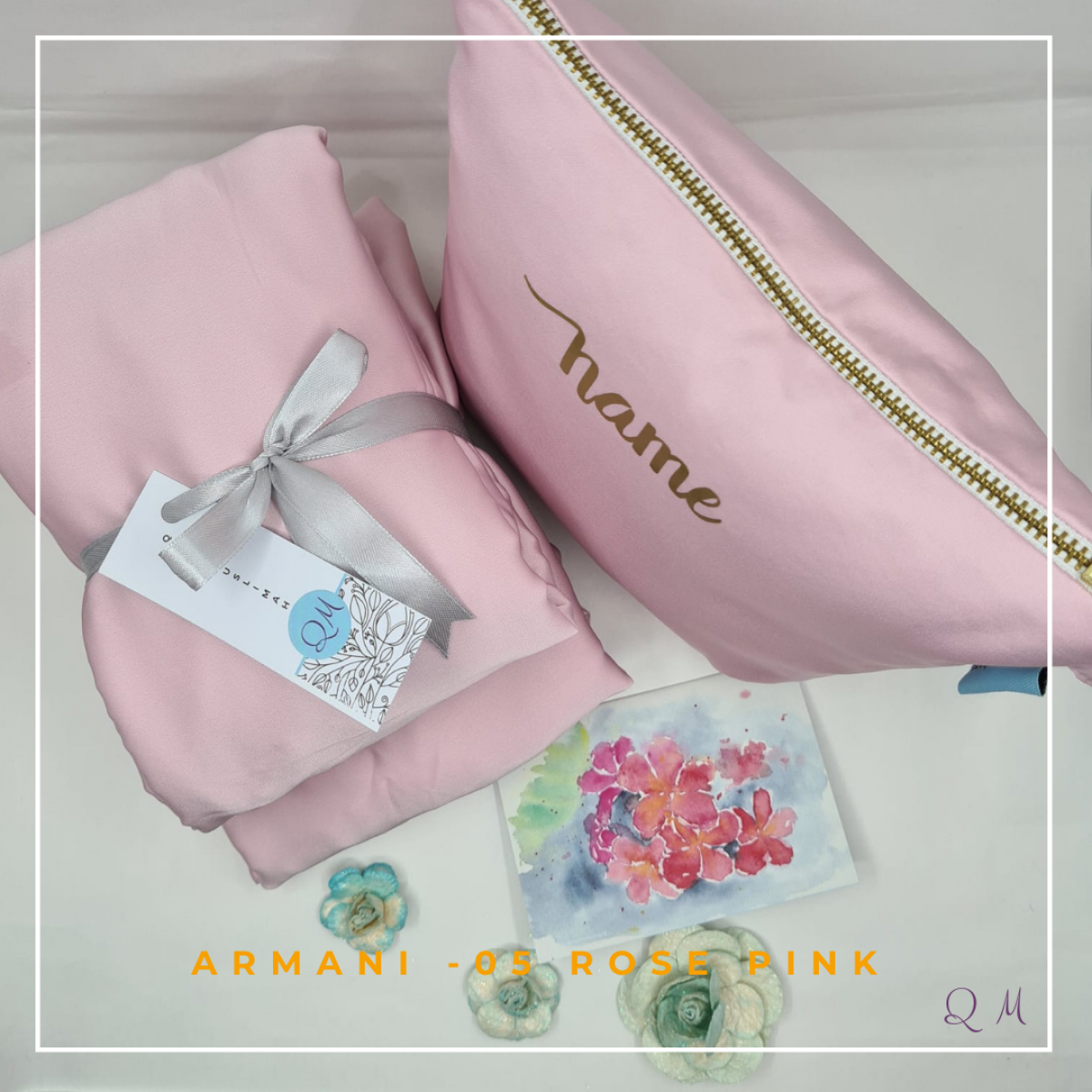 Telekung/Mukena Armani Silk - Rose Pink - Qool Muslimah