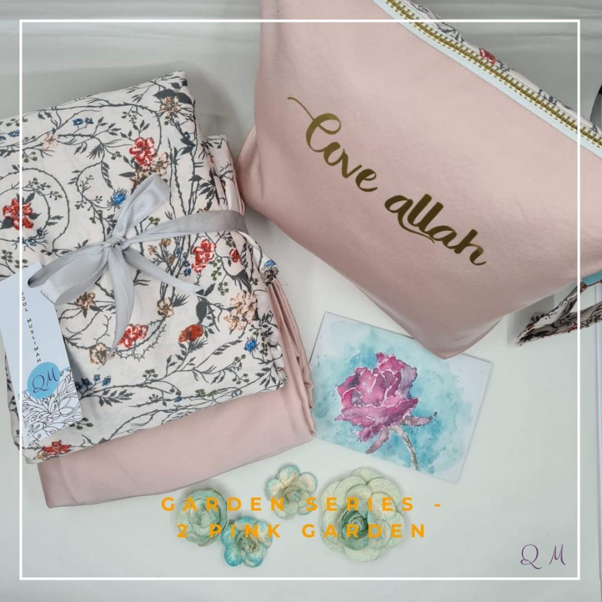 Telekung/Mukena Armani Silk Garden Series - Pink - Qool Muslimah