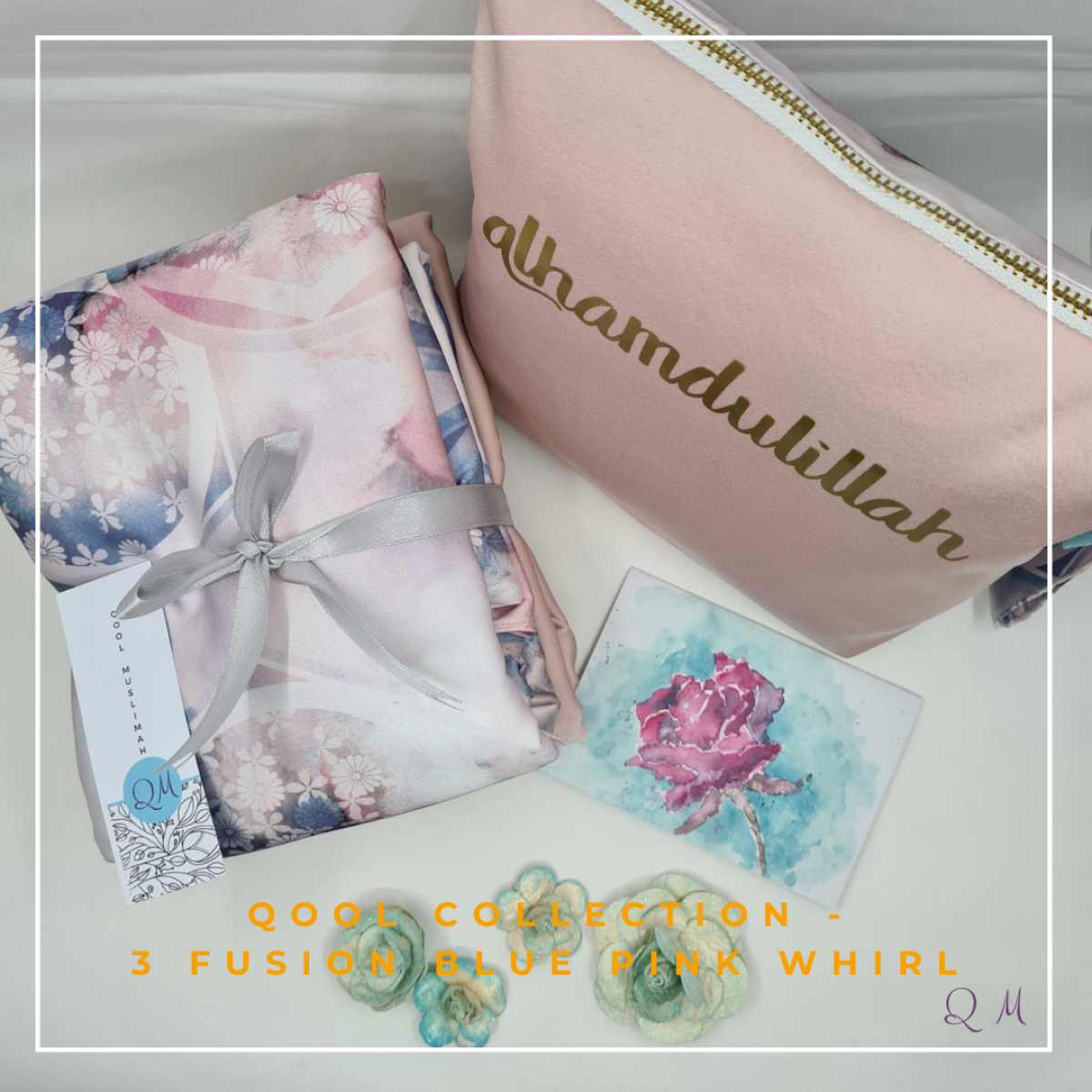 Telekung/Mukena Armani Silk - Fusion Blue Pink Whirl - Qool Muslimah