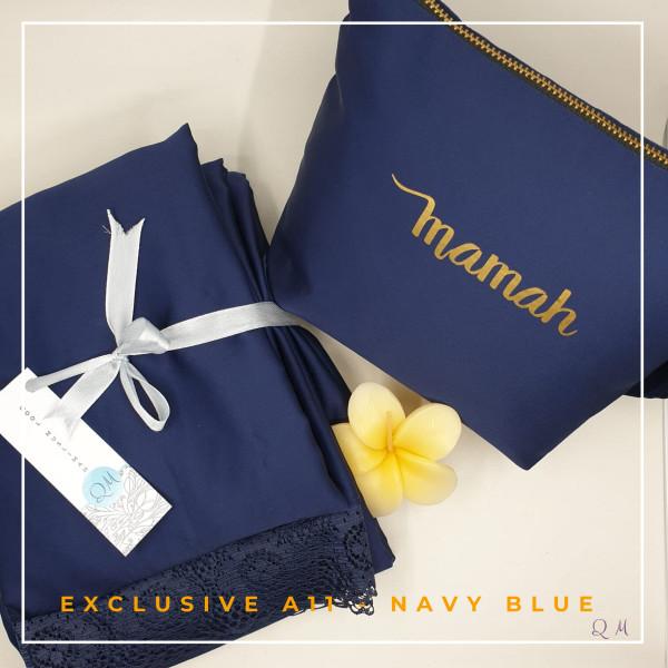 Telekung Armani Silk - Navy Blue - Qool Muslimah