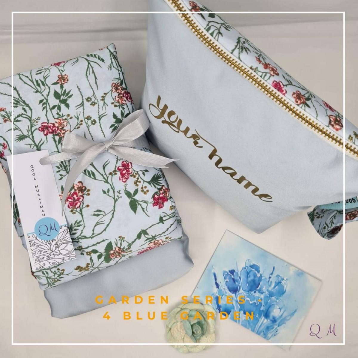 Telekung/Mukena Armani Silk Garden Series - Blue - Qool Muslimah