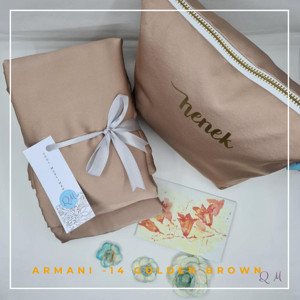 Telekung Armani Silk - Golden Brownish - Qool Muslimah