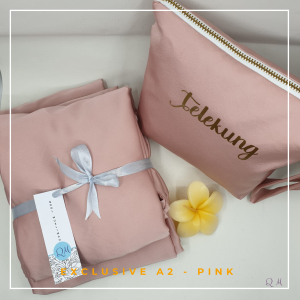 Telekung Armani Silk - Pink - Qool Muslimah