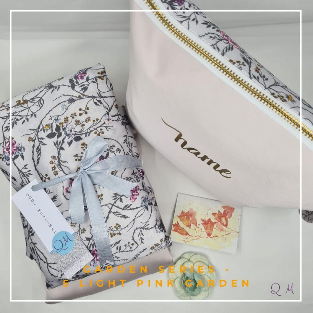 Telekung/Mukena Armani Silk Garden Series - Light Pink - Qool Muslimah